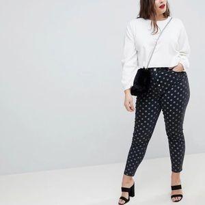 ASOS curve polkadot Ridley high waist skinny Jean